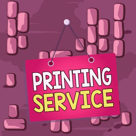 Word writing text Printing Service. Business photo showcasing program offered by print providers that analysisage all aspects Colored memo reminder empty board blank space attach background rectangle