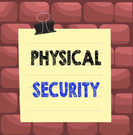 Handwriting text Physical Security. Conceptual photo designed to deny unauthorized access to facilities Paper lines binder clip cardboard blank square notebook color background