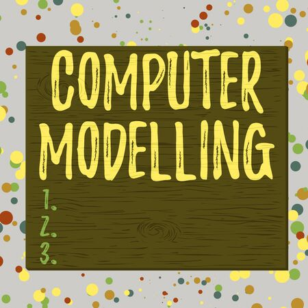 Word writing text Computer Modelling. Business photo showcasing using a computer to make a model of a plan or design Square rectangle unreal cartoon wood wooden nailed stuck on coloured wall Stock Photo
