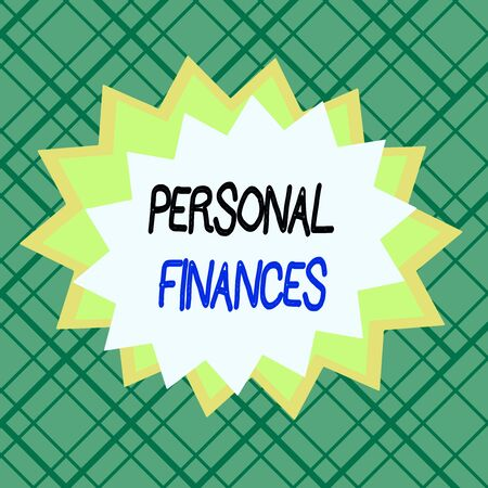 Writing note showing Personal Finances. Business concept for the activity of analysing own money and financial decisions Asymmetrical uneven shaped pattern object multicolour design