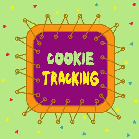 Conceptual hand writing showing Cookie Tracking. Concept meaning Data stored in the user computer by website being visited Asymmetrical uneven shaped pattern object multicolour design