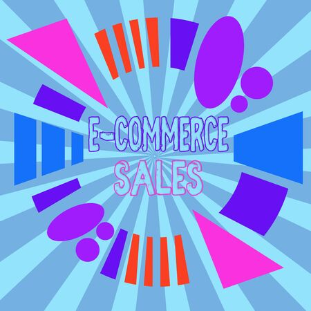 Text sign showing E Commerce Sales. Business photo showcasing activity of buying or selling of products on online service Asymmetrical uneven shaped format pattern object outline multicolour design