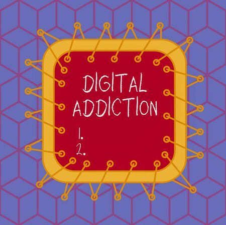 Writing note showing Digital Addiction. Business concept for disorder that involves the obsessive use of mobile devices Asymmetrical uneven shaped pattern object multicolour design Imagens