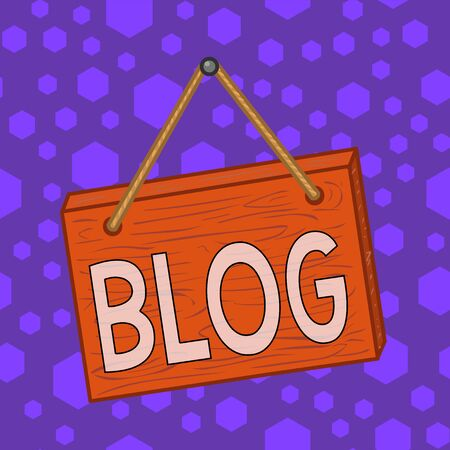 Writing note showing Blog. Business concept for regularly updated website web page run by individual Square rectangle unreal cartoon wood on the coloured wall