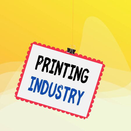Writing note showing Printing Industry. Business concept for industry involved in production of printed matter Stamp stuck binder clip square color frame rounded tip