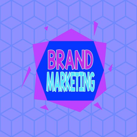 Writing note showing Brand Marketing. Business concept for creating a name that identifies and differentiates a product Asymmetrical format pattern object outline multicolor design Banco de Imagens