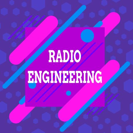 Word writing text Radio Engineering. Business photo showcasing Concerned with the operation and repair of radio equipment Asymmetrical uneven shaped format pattern object outline multicolour design