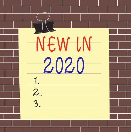 Text sign showing New In 2020. Business photo showcasing what will be expecting or new creation for the year 2020 Paper lines binder clip cardboard blank square notebook color background