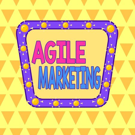Text sign showing Agile Marketing. Business photo showcasing focusing team efforts that deliver value to the endcustomer Asymmetrical uneven shaped format pattern object outline multicolour design