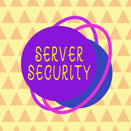 Writing note showing Server Security. Business concept for web server that guarantees secure online transactions Asymmetrical format pattern object outline multicolor design