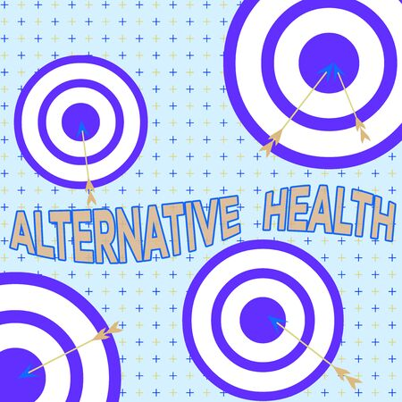 Text sign showing Alternative Health. Business photo showcasing products and practices that are not part of standard care Arrow and round target inside asymmetrical shaped object multicolour design
