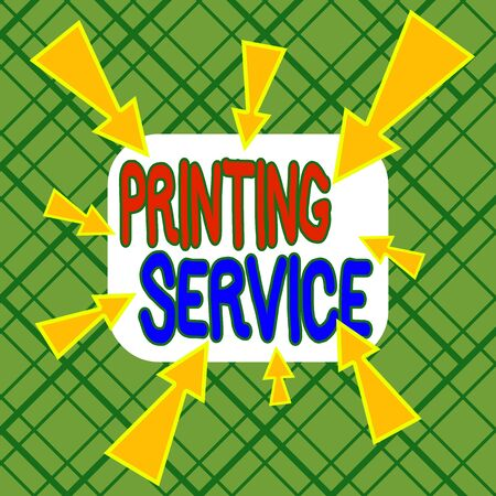 Conceptual hand writing showing Printing Service. Concept meaning program offered by print providers that analysisage all aspects Asymmetrical uneven shaped pattern object multicolour design