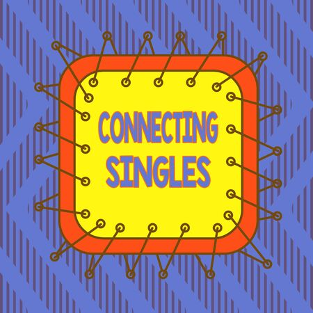 Conceptual hand writing showing Connecting Singles. Concept meaning online dating site for singles with no hidden fees Asymmetrical uneven shaped pattern object multicolour design