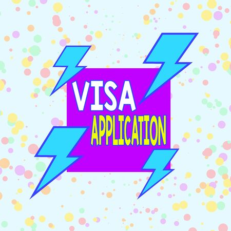 Handwriting text writing Visa Application. Conceptual photo an process of getting an entry permit to a foreign land Asymmetrical uneven shaped format pattern object outline multicolour design Standard-Bild