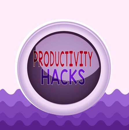 Conceptual hand writing showing Productivity Hacks. Concept meaning tricks that you get more done in the same amount of time Colored sphere switch center background middle round shaped Foto de archivo