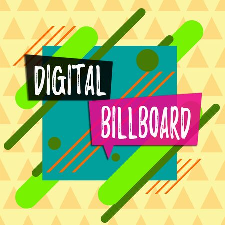 Text sign showing Digital Billboard. Business photo showcasing billboard that displays digital images for advertising Asymmetrical uneven shaped format pattern object outline multicolour design Stockfoto