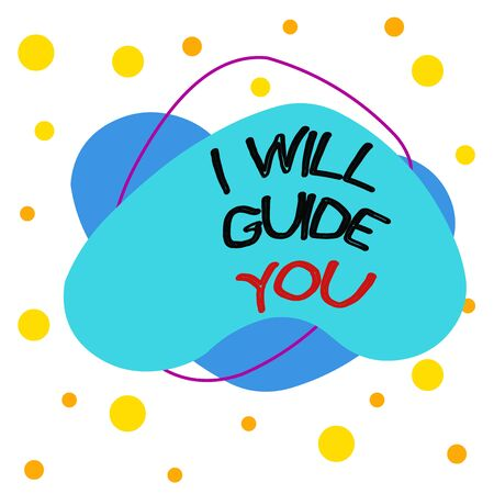 Word writing text I Will Guide You. Business photo showcasing Help showing a route Influence to do or think something Asymmetrical uneven shaped format pattern object outline multicolour design Stok Fotoğraf