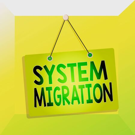 Conceptual hand writing showing System Migration. Concept meaning moving from the use of one operating environment to another Memo reminder empty board attached background rectangle