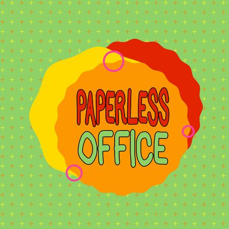 Text sign showing Paperless Office. Business photo showcasing work environment in which the use of paper is eliminated Asymmetrical uneven shaped format pattern object outline multicolour design Фото со стока
