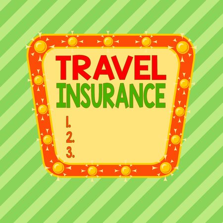 Conceptual hand writing showing Travel Insurance. Concept meaning covers the costs and losses associated with traveling Asymmetrical uneven shaped pattern object multicolour design 免版税图像