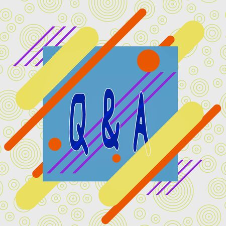 Conceptual hand writing showing Q And A. Concept meaning defined as questions being asked and answers Asymmetrical format pattern object outline multicolor design