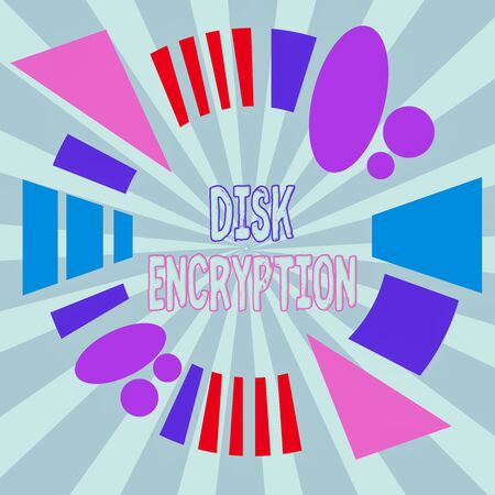 Text sign showing Disk Encryption. Business photo showcasing the security mechanism used to protect data at rest Asymmetrical uneven shaped format pattern object outline multicolour design Stock Photo