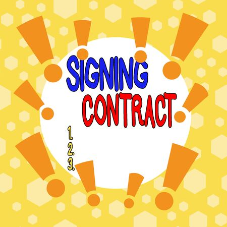 Conceptual hand writing showing Signing Contract. Concept meaning the parties signing the document agree to the terms Asymmetrical uneven shaped pattern object multicolour design Stock Photo