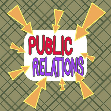 Conceptual hand writing showing Public Relations. Concept meaning state of the relationship between the public and a company Asymmetrical uneven shaped pattern object multicolour design Standard-Bild