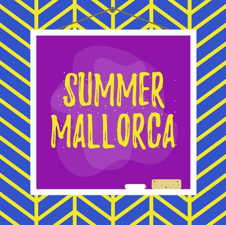 Handwriting text writing Summer Mallorca. Conceptual photo Spending the holiday season in the Balearic islands of Spain Asymmetrical uneven shaped format pattern object outline multicolour design 免版税图像