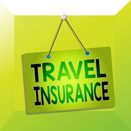 Conceptual hand writing showing Travel Insurance. Concept meaning covers the costs and losses associated with traveling Memo reminder empty board attached background rectangle