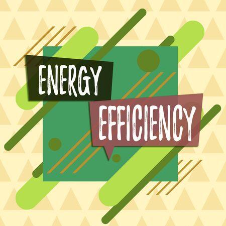 Signo de texto que muestra la eficiencia energética. La exhibición de fotografías de negocios reduce la cantidad de energía requerida para proporcionar el producto Diseño multicolor de contorno de objeto de patrón de formato asimétrico irregular
