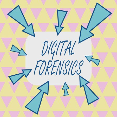 Text sign showing Digital Forensics. Business photo showcasing investigation of material found in digital devices Asymmetrical uneven shaped format pattern object outline multicolour design Stockfoto
