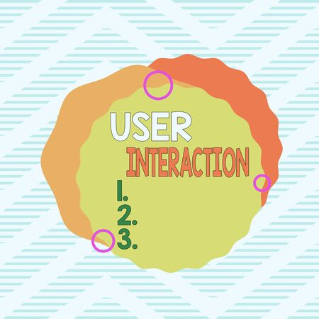 Word writing text User Interaction. Business photo showcasing the conduit between huanalysis and computer interaction Asymmetrical uneven shaped format pattern object outline multicolour design