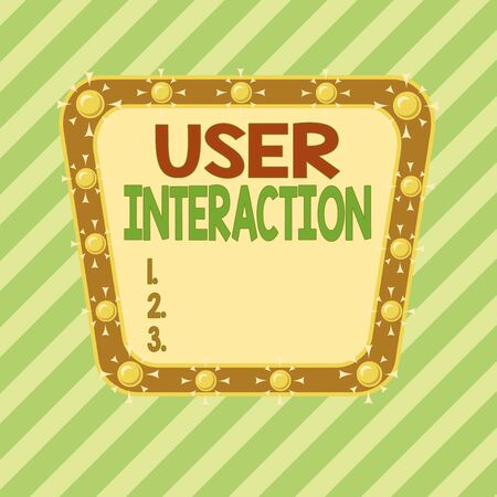 Conceptual hand writing showing User Interaction. Concept meaning the conduit between huanalysis and computer interaction Asymmetrical uneven shaped pattern object multicolour design Stock Photo