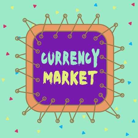 Conceptual hand writing showing Currency Market. Concept meaning over the counter market for the trading of currencies Asymmetrical uneven shaped pattern object multicolour design