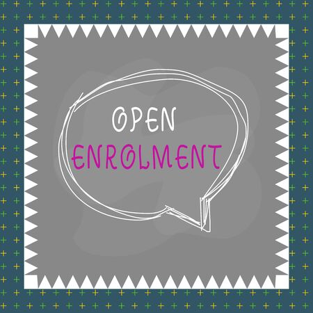 Text sign showing Open Enrolment. Business photo text period during which members can choose an alternate plan Speaking bubble inside asymmetrical shaped object outline multicolor design 스톡 콘텐츠
