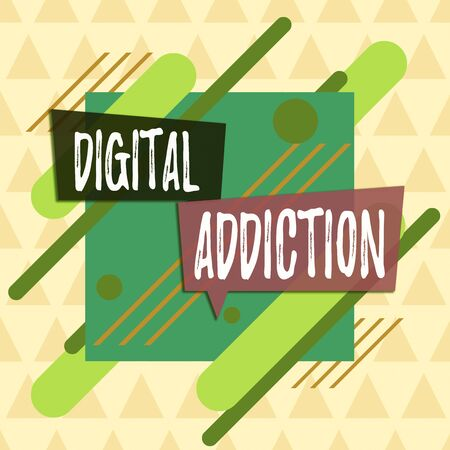 Text sign showing Digital Addiction. Business photo showcasing disorder that involves the obsessive use of mobile devices Asymmetrical uneven shaped format pattern object outline multicolour design Imagens