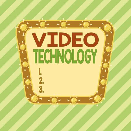 Conceptual hand writing showing Video Technology. Concept meaning recording and playing back of moving pictures and sound Asymmetrical uneven shaped pattern object multicolour design
