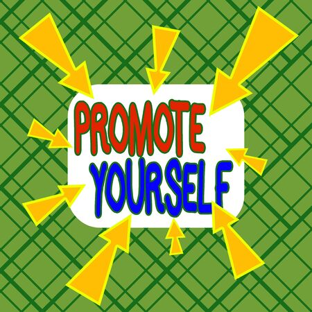 Conceptual hand writing showing Promote Yourself. Concept meaning the act or practice of promoting one s is own interests Asymmetrical uneven shaped pattern object multicolour design Stock fotó