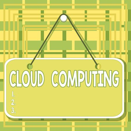 Text sign showing Cloud Computing. Business photo text storing and accessing data and programs over the Internet Colored memo reminder empty board blank space attach background rectangle