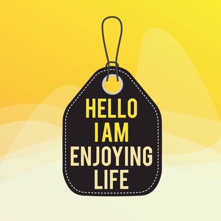 Conceptual hand writing showing Hello I Am Enjoying Life. Concept meaning Happy relaxed lifestyle Enjoy simple things Empty tag colorful background label rectangle attach string