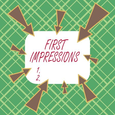 Handwriting text writing First Impressions. Conceptual photo first consideration or judgment towards a demonstrating Asymmetrical uneven shaped format pattern object outline multicolour design