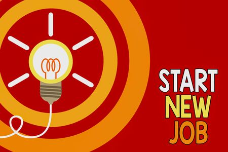 Conceptual hand writing showing Start New Job. Concept meaning getting recruited in company Sign fresh work contract Idea light bulb Successful turning idea invention Startup Archivio Fotografico