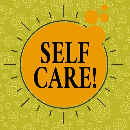 Writing note showing Self Care. Business concept for the practice of taking action to improve one s is own health Asymmetrical uneven shaped pattern object multicolour design