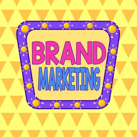 Text sign showing Brand Marketing. Business photo showcasing creating a name that identifies and differentiates a product Asymmetrical uneven shaped format pattern object outline multicolour design