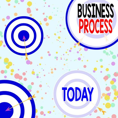 Handwriting text Business Process. Conceptual photo implemented to accomplish a target organizational goal Arrow and round target inside asymmetrical shaped object multicolour design