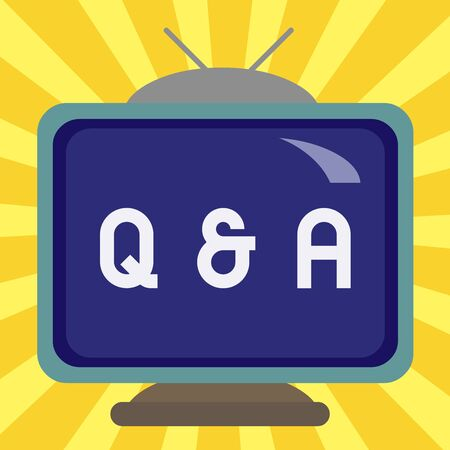 Writing note showing Q And A. Business concept for in which demonstrating asks questions and another one answers them Square rectangle unreal cartoon wood on the coloured wall