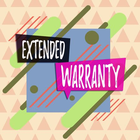 Text sign showing Extended Warranty. Business photo showcasing contract which gives a prolonged warranty to consumers Asymmetrical uneven shaped format pattern object outline multicolour design