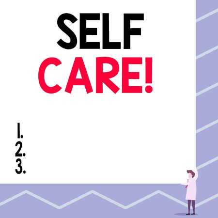 Text sign showing Self Care. Business photo showcasing practice of taking action preserve or improve ones own health One man professor wear white coat red tie hold big board use two hands Standard-Bild