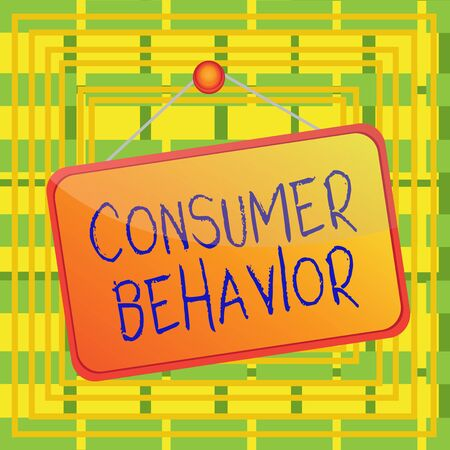 Text sign showing Consumer Behavior. Business photo showcasing study of how individual customers interacts with the brand Colored memo reminder empty board blank space attach background rectangle